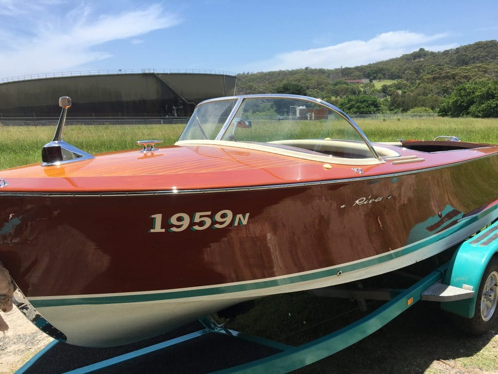 Riva classic timber wooden boat restoration Pittwater, Northern Beaches, Sydney